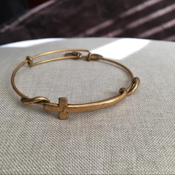 6636e7e7bf004 Alex and Ani Gold Cross Wrap Wire Bangle Bracelet